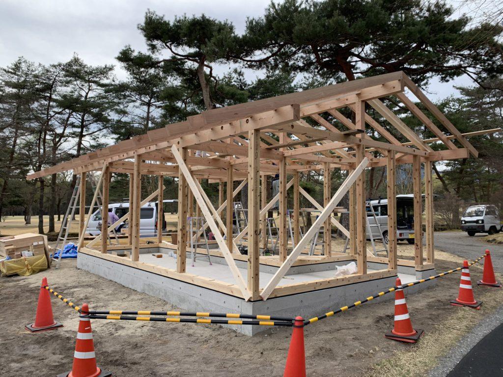 2020.3.27 本格的に小屋の工事がはじまりました